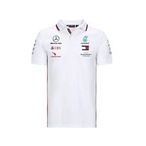 Mercedes AMG Petronas 2020 Team Polo Collared Shirt Top - White - Mens