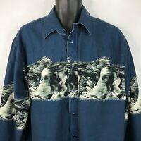 Vintage 80s Wrangler Blue White Bald Eagles Pearl Snap Western Shirt Size XXL