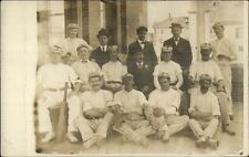Cricket Team Men Uniforms Equipment c1910 Real Photo Postcard US PAPER myn