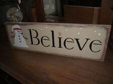 BELIEVE w/Santa Snowman  Christmas wood sign primitive