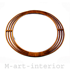 mid century modern Wand Spiegel oval Rattan Wall Mirror Italy 50s 60s vintage