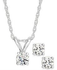 Diamond Solitaire Necklace & Studs Earrings Set 3/4 Carat tw 14K White Gold