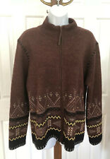 Vintage Orvis Womens Lambs Wool Sweater Cardigan Aztec Design Size Large