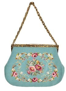Vintage Needlepoint Handbag Purse Blue With Floral Pattern Chain Strap