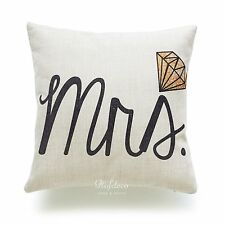 """Hofdeco Pillow Case His and Her Love Wedding Valentine Day Gift Cushion Cover 18 Black Mrs 18""""x18"""""""