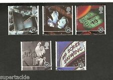 """1996 Great Britain #1658-62 """"100 Years of Going to the Pictures"""" Θ used stamps"""