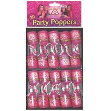 20 Hen Night Party Poppers Accessories Decorations Bag Filler Pink Poppers Fun