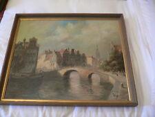 Oil Painting Jan Van Hessel Dutch b.1894  Dutch Canal Scene