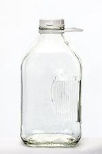 The Dairy Shoppe 2 Qt Heavy Glass Milk Bottle with Handle & Cap, 64 oz, 1/2 g...