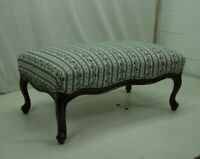 Charming country French  Footstool With New Blue Floral Upholstery