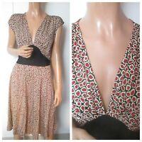 Diane Von Furstenberg UK:12 Wool Silk Blend Tie Back V-Neck Plunge Dress VGC