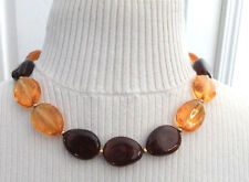 Givenchy Amber & Smoky Topaz Lucite Bead Vintage Adjustable Choker Necklace