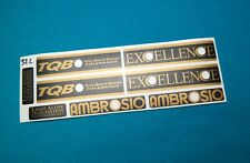 AMBROSIO EXCELLENCE TEAM EDITION RIM DECALSET GOLD/BLACK 28 32 36 HOLE  COLNAGO