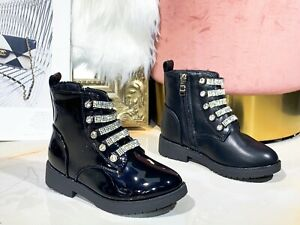 KIDS GIRLS FLAT CHELSEA BACK TO SCHOOL ANKLE BOOTS CHILDRENS WINTER BLACK SHOES