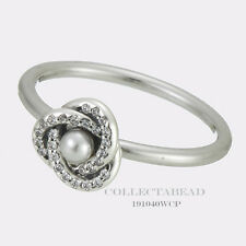 Authentic Pandora Silver Luminous Love Knot Pearl Size 6 (52) Ring 191040WCP-52