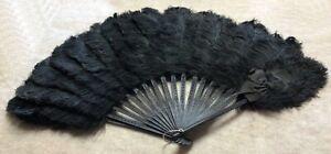 Fabulous Antique Victorian Ostrich Plume Hand Fan with Ebony Sticks