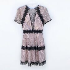 Nicholas Iris Rose Lace Mini Panelled Dress Nwts $695