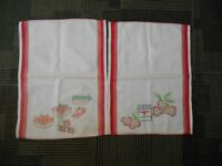 2 Vintage Kitchen Towels Canvas Embroidered Dish Towels