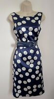 ROMAN Navy Blue Spotted Satin Belted Dress 10 Party Occasion Wedding Races