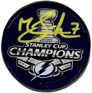 Mathieu Joseph autographed signed Stanley Cup puck Tampa Bay Lightning PSA COA