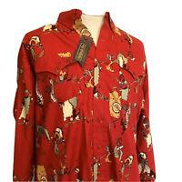 Panhandle Slim Men's Red Indian print Cowboy Shirt DS3001 cotton New 18x35