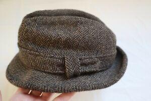 Vtg Black & Gray Tweed EDDIE BAUER Resistol Wool Fedora Style Hat L - XL