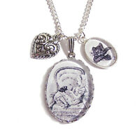 ALICE IN WONDERLAND cat necklace Dinah kitten charm cheshire cat silver pendant