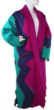 Vtg 80's CINDY OWINGS DESIGNS (C.O.D.) Long Wool Art Coat Colorblock Geometric M
