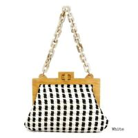 Bead Handle Wood Woven Purse – Clutch Bag (White)