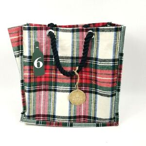 Aspen Wine 6 Bottle Tote Bag Carrier Black Red Checker Plaid Fabric NWT Reusable