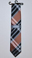 Kenneth Cole Reaction Awesome Plaid Men's Neck Tie Orange Black