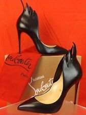 NIB LOUBOUTIN VICTORINA 100 FLAME BLACK LEATHER CLASSIC PUMPS 38 $845 ITALY