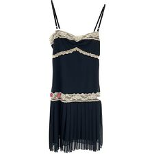 Womens S Dress Little Black tiered Flapper Lace Embroidered Textured Dance Latin