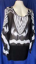 Ashley Stewart Top Womens 16 Black White Blouse Angel Bell Sleeves Sheer Dressy