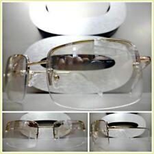 Men's Contemporary Modern Style Clear Lens Slight Tint SUN GLASSES Gold Frame