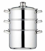 KitchenCraft 20cm Clearview Stainless Steel 3-tier Steamer Induction Saucepan
