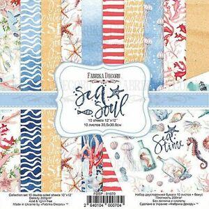 "12""x12"" scrapbooking paperpad cardstock Sea Soul 11 sheets"