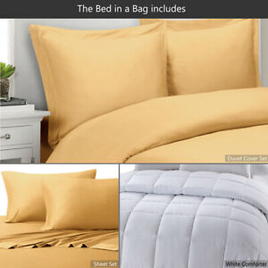 8PC Bamboo Bed in a Bag Set has a Duvet Cover Set with Comforter & Bamboo Sheet