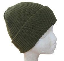 Green Winter Watch Cap - Woolly Knitted Thick Hat Beanie Outdoor Military Army