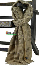 100% Cashmere Wool Pashmina Houndstooth Tooth Check Block Black Scarf Shawl Wrap