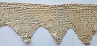 Antique Wide Crochet Lace 9 + Yards Edging Trim Sewing Primitive  A25