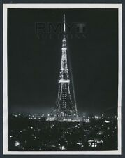 1959 Tokyo Tower, Illuminated at Night Incredible Architecture Vintage Photo