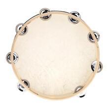 Hand Held Tambourine Drum Bell Birch Metal Percussion Musical Instrument N6F6