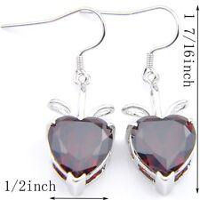 Handmade Gift Love Heart Fire Re Garnet Gemstone Silver Dangle Drop Earrings