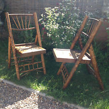 ART DECO TWO BAMBOO FOLDING  PICNIC CHAIRS