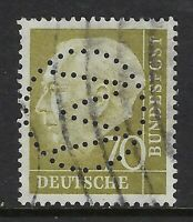 "Germany ""W"" in circle Perfin on 70pf. Heuss I stamp (DR Lochungen)"