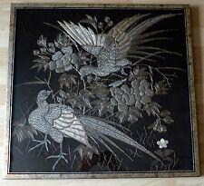 Antique Japanese Metallic Thread Birds Tapestry Textile Panel Shusu