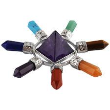 7 Chakra Amethyst Crystal Point Pyramid Energy Generator Healing Gems Home Decor