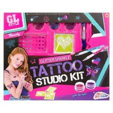 GL Estilo Brillo Tatuaje Studio Kit 6 Conjunto De Arte Stencils Cuerpo Regalo De Navidad 8+Y