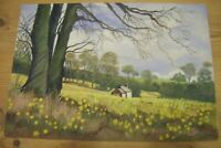 ORIGINAL PAINTING  Acrylic On Board 'Farndale' Cottage Country Landscape 14x10''